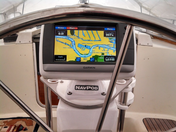 New Garmin Chart plotter at helm in NavPod